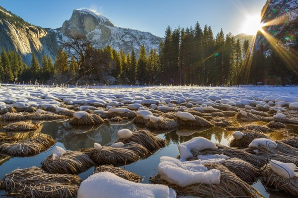 Sunstar peeking into Yosemite Valley at sunrise | LotsaSmiles Photography