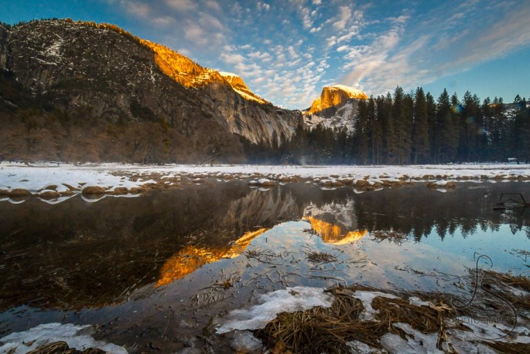 Dusk in Yosemite, with Half Dome perfectly reflected in the water | LotsaSmiles Photography