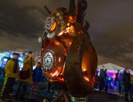 A local artist created a fire pit for the Portland Winter Light Festival that beats like a real heart