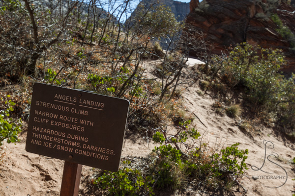 The final Angels Landing sign, warning of the dangerous hike ahead   LotsaSmiles Photography