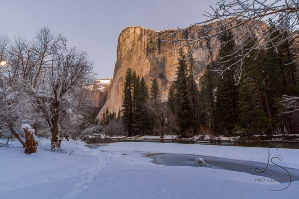 The frozen river in front of a snowy El Capitan in Yosemite National Park at sunrise.