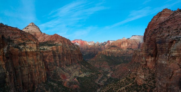 The view at Zion's Canyon Overlook just before dawn   LotsaSmiles Photography
