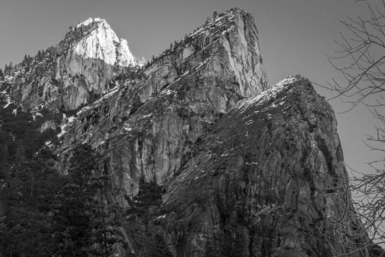 Yosemite's Three Brothers peaks at sunrise, in monochrome   LotsaSmiles Photograhy