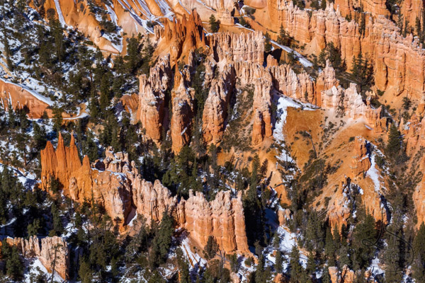 A span of snowy hoodoos, viewed from above | LotsaSmiles Photography