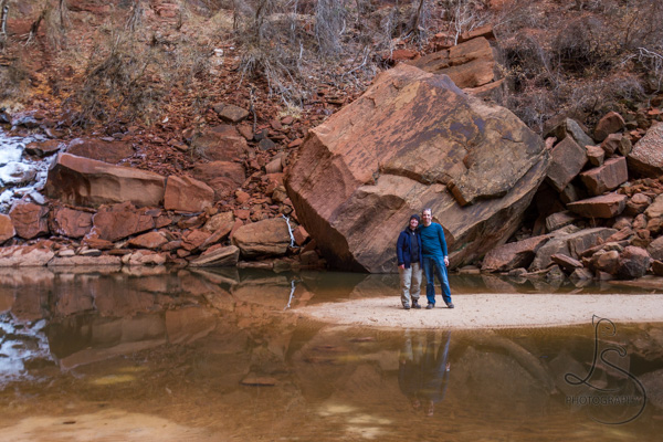 Aaron and me posing in front of the upper emerald pool