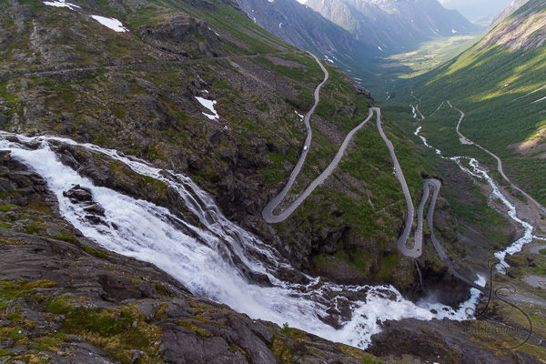 The winding switchbacks from the Trollstigen viewpoint in Norway | LotsaSmiles Photography