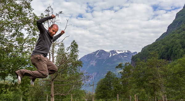 Aaron jumping from a trampoline at our campground in Norway | LotsaSmiles Photography