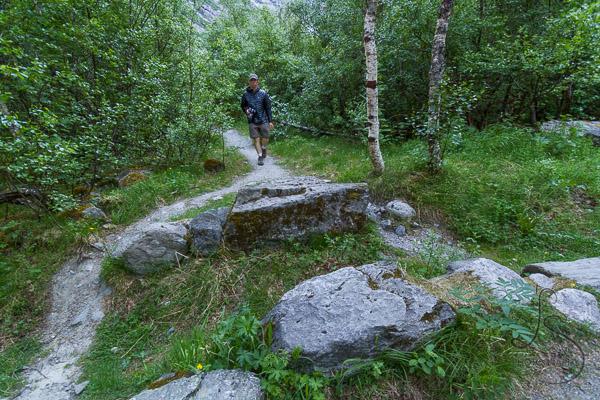 Aaron walking along the trail to Kjenndalen   LotsaSmiles Photography