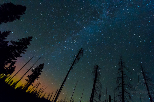Hints of the northern lights at the edge of the Milky Way tapestry in Central Oregon | LotsaSmiles Photography