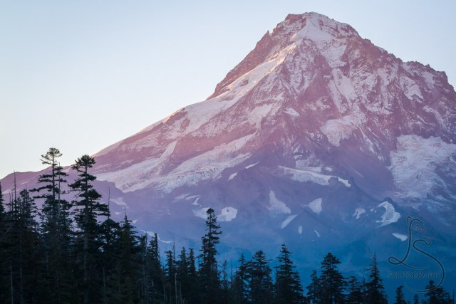 The tip of Mount Hood as the first rays of sunrise strike the peak | LotsaSmiles Photography