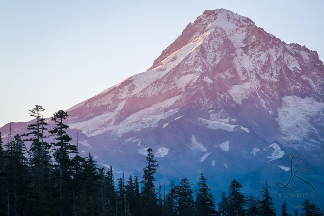 The tip of Mount Hood as the first rays of sunrise strike the peak   LotsaSmiles Photography