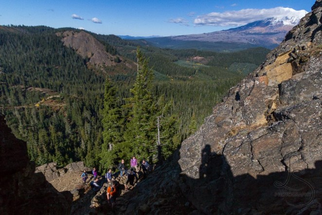 Our troop winding their way up the switchbacks, with Mount Adams peering around the cliff face | LotsaSmiles Photography