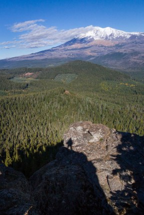 My own shadow in front of the view of Mount Adams | LotsaSmiles Photography