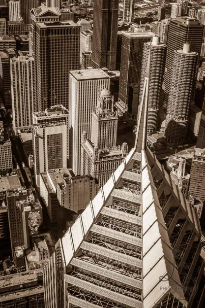 Tops of the Chicago buildings, in sepia tone | LotsaSmiles Photography