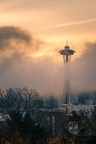 The Seattle Space Needle poking through the morning fog | LotsaSmiles Photography