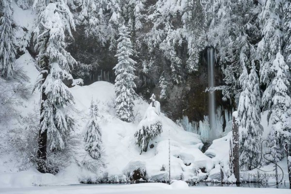 The waterfall at a snowy June Lake, reminiscent of a scene from Narnia | LotsaSmiles Photography