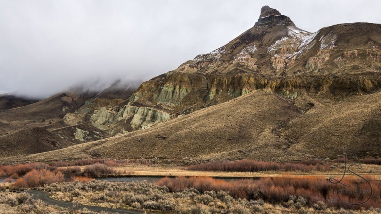 Sheep Rock hugged by fog in Central Oregon | LotsaSmiles Photography
