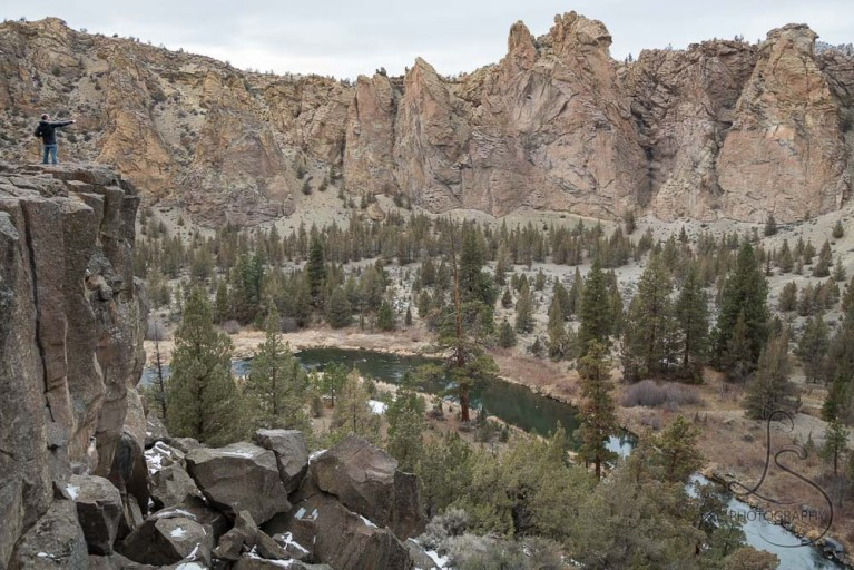 Aaron on the edge of a cliff in Smith Rock State Park in Central Oregon   LotsaSmiles Photography