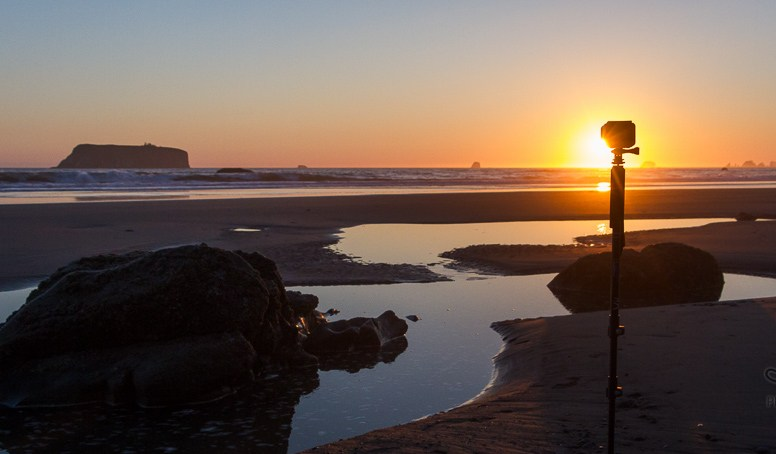 GoPro mounted on a monopod and stuck in the sand on the beach at sunset | LotsaSmiles Photography