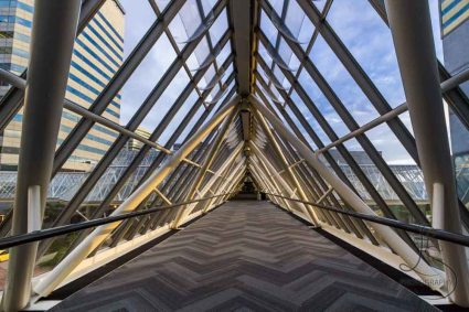 Portland's World Trade Center buildings feature triangular glass sky bridges that connect the three buildings of the complex.