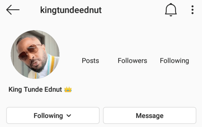 Tunde Ednut Hits One Million Followers In Three Days, Instagram Unfortunately Deletes His New Instagram Account