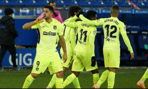 Suarez Scores 90th-minute Winner To Help Atletico Madrid Retain Top Spot In La Liga With Two Games In Hand