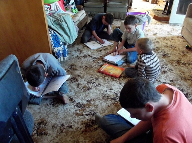 This is how we do science--all of us sit on the floor. I read aloud from the textbook, and then we work on filling in the notebooks.