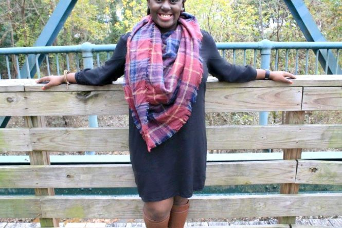 Fall Clothes - Old Navy Dress, Charlotte Russe Blanket Scarf