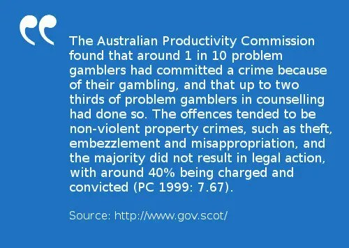 Lottery addiction can lead someone to commit crime. 1 in 10 problem gamblers had commited theft and fraud according to The Australian Productivity Commission.