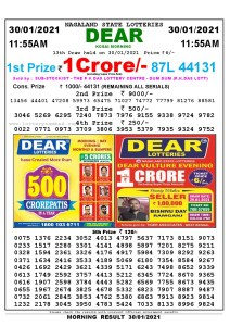Lottery Sambad 11:55 am 30/01/2021 Morning Sikkim State Lottery Result Pdf Download