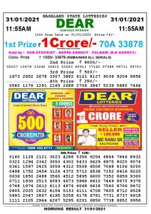 Lottery Sambad 11:55 am 31/01/2021 Morning Sikkim State Lottery Result Pdf Download