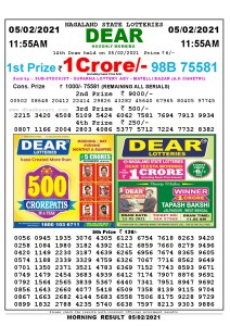 Lottery Sambad 11:55 am 05/02/2021 Morning Sikkim State Lottery Result Pdf Download