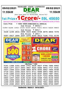 Lottery Sambad 11:55 am 09/02/2021 Morning Sikkim State Lottery Result Pdf Download