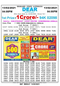 Lottery Sambad Live today 4pm 13/02/2021 Nagaland State Lottery Result Pdf File Download