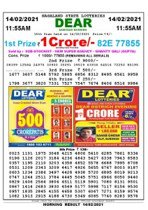 Lottery Sambad 11:55 am 14/02/2021 Morning Sikkim State Lottery Result Pdf Download