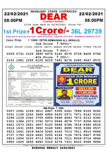 Lottery Sambad Live Result 8pm 22/02/2021 Evening Nagaland State Lottery Result Pdf Download