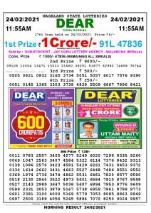 Lottery Sambad 11:55 am 24/02/2021 Morning Sikkim State Lottery Result Pdf Download
