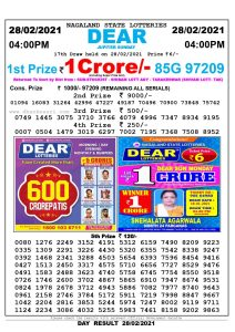Lottery Sambad Live today 4pm 28/02/2021 Nagaland State Lottery Result Pdf File Download