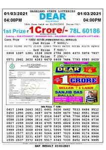 Lottery Sambad Live today 4pm 01/03/2021 Nagaland State Lottery Result Pdf File Download