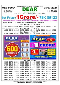 Lottery Sambad 11:55 am 05/03/2021 Morning Sikkim State Lottery Result Pdf Download