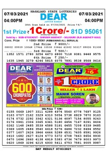 Lottery Sambad Live today 4pm 07/03/2021 Nagaland State Lottery Result Pdf File Download