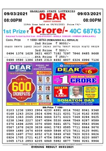 Lottery Sambad Live Result 8pm 09/03/2021 Evening Nagaland State Lottery Result Pdf Download