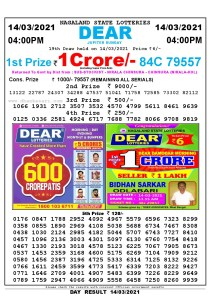 Lottery Sambad Live today 4pm 14/03/2021 Nagaland State Lottery Result Pdf File Download