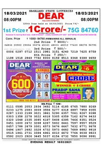 Lottery Sambad Live Result 8pm 18/03/2021 Evening Nagaland State Lottery Result Pdf Download