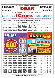 Lottery Sambad Live Result 8pm 03/03/2021 Evening Nagaland State Lottery Result Pdf Download