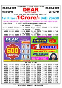 Lottery Sambad Live Result 8pm 26/03/2021 Evening Nagaland State Lottery Result Pdf Download