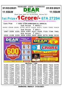 Lottery Sambad 11:55 am 26/03/2021 Morning Sikkim State Lottery Result Pdf DownloadLottery Sambad 11:55 am 31/03/2021 Morning Sikkim State Lottery Result Pdf Download