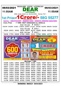 Lottery Sambad 11:55 am 06/03/2021 Morning Sikkim State Lottery Result Pdf Download