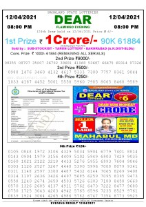 Lottery Sambad Live Result 8pm 12/04/2021 Evening Nagaland State Lottery Result Pdf Download