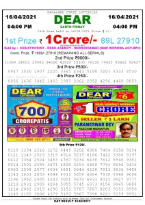Lottery Sambad Live today 4pm 16/04/2021 Nagaland State Lottery Result Pdf File Download